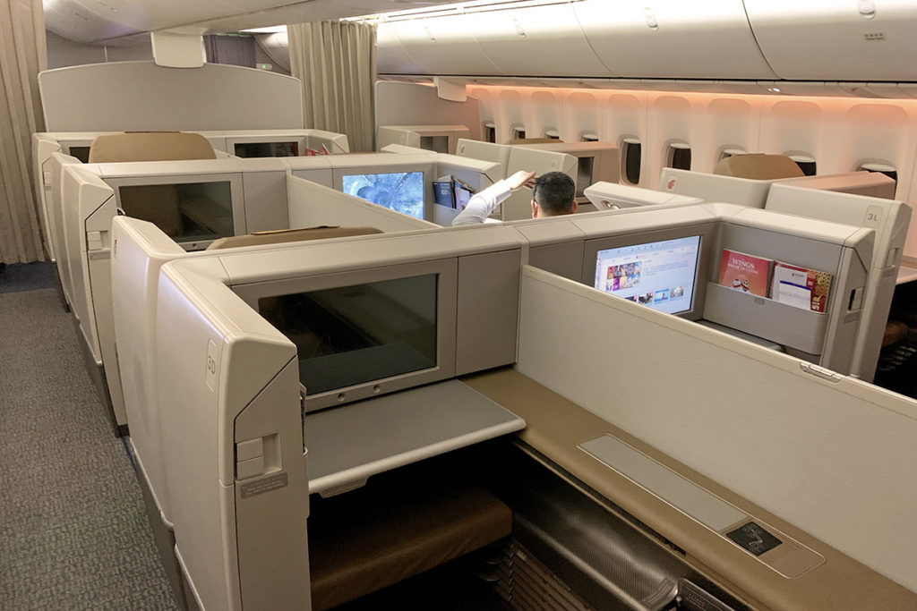 Air China First Class sete og kabin