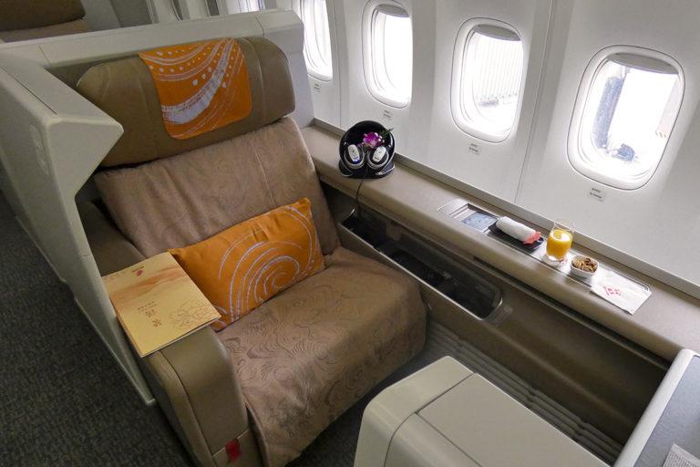 Air China First Class sete og kabin