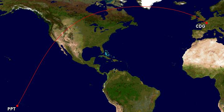 Air Tahiti Nui fra Papeete i Fransk Polynesia til Paris Charles de Gaulle