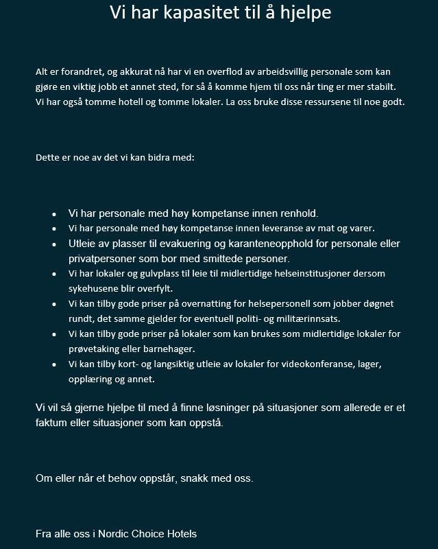 Nordic Choice Hotels tilbyr alternative tjenester under koronakrisen