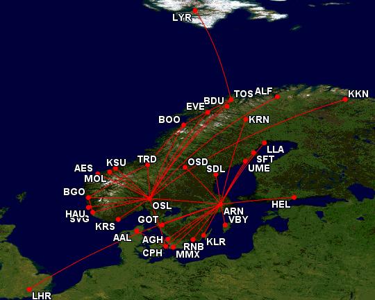Disse SAS-rutene er fortsatt i drift