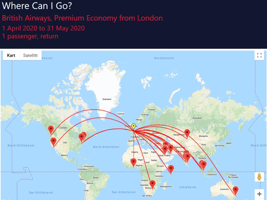 Søk etter tilgjengelige reisemål med SeatSpy