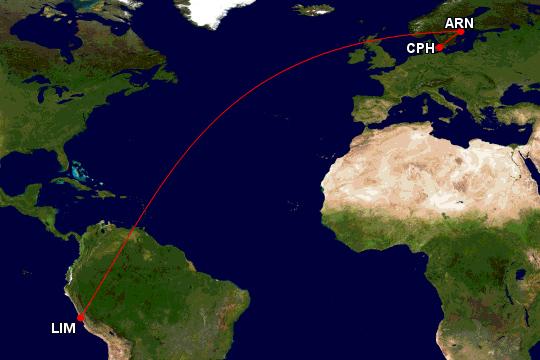 SAS Airbus A350 fra Stockholm til Lima i Peru