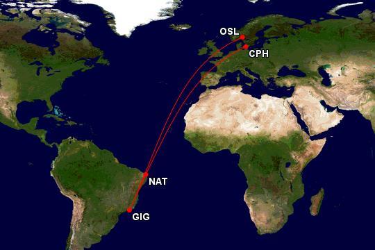 SAS Airbus A350 fra København til Natal og Rio de Janeiro, med retur til Oslo Lufthavn