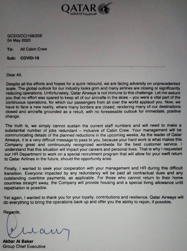 I et internt notat fra Qatar Airways' signert Akbar Al Baker, gjør selskapet rede for at oppsigelser vil være uunngåelig