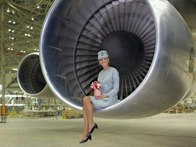 Pat Tudor i motoren på en Boeing 747