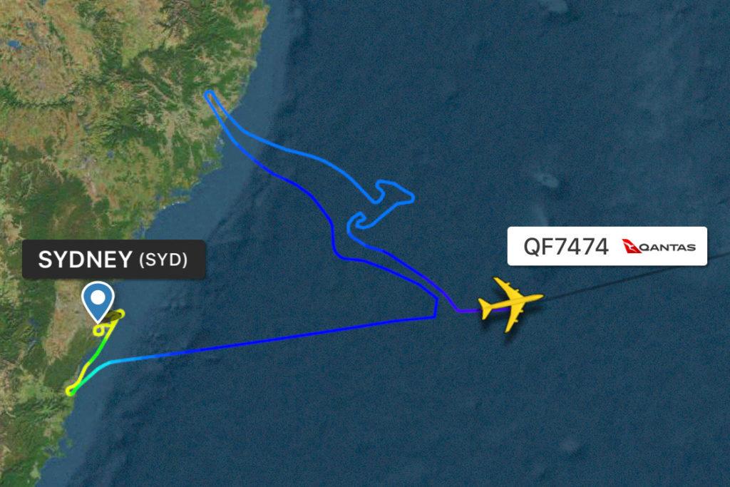Qantas flight QF7474 på flightradar24.com
