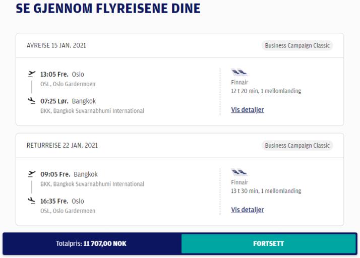 Finnair Business Class Bangkok, Thailand fra 11700 kroner