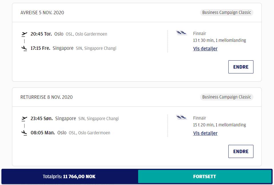 Finnair business class til Singapore fra kr. 11 700